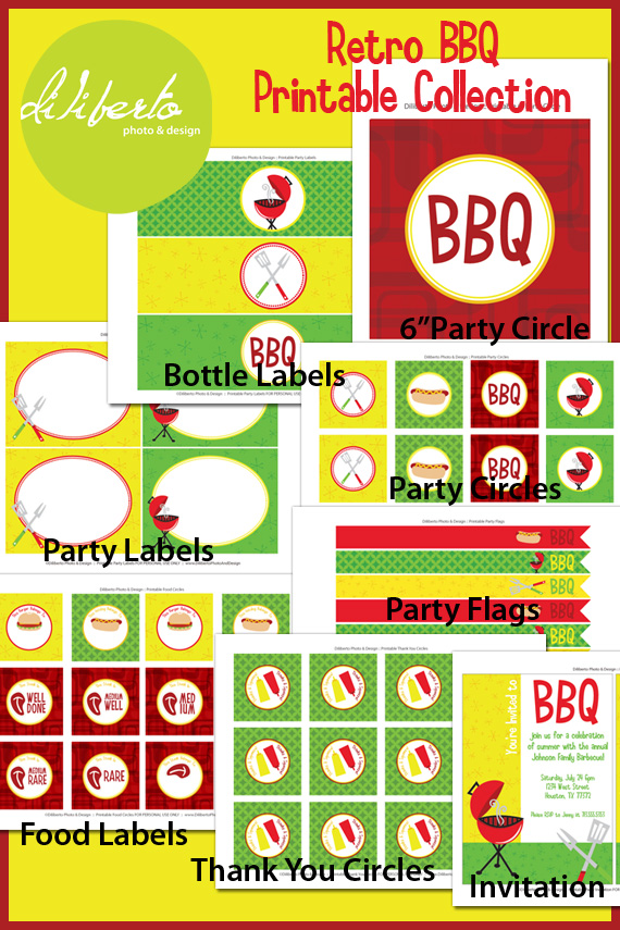 Retro Barbecue BBQ Party Printables from Diliberto Photo And Design