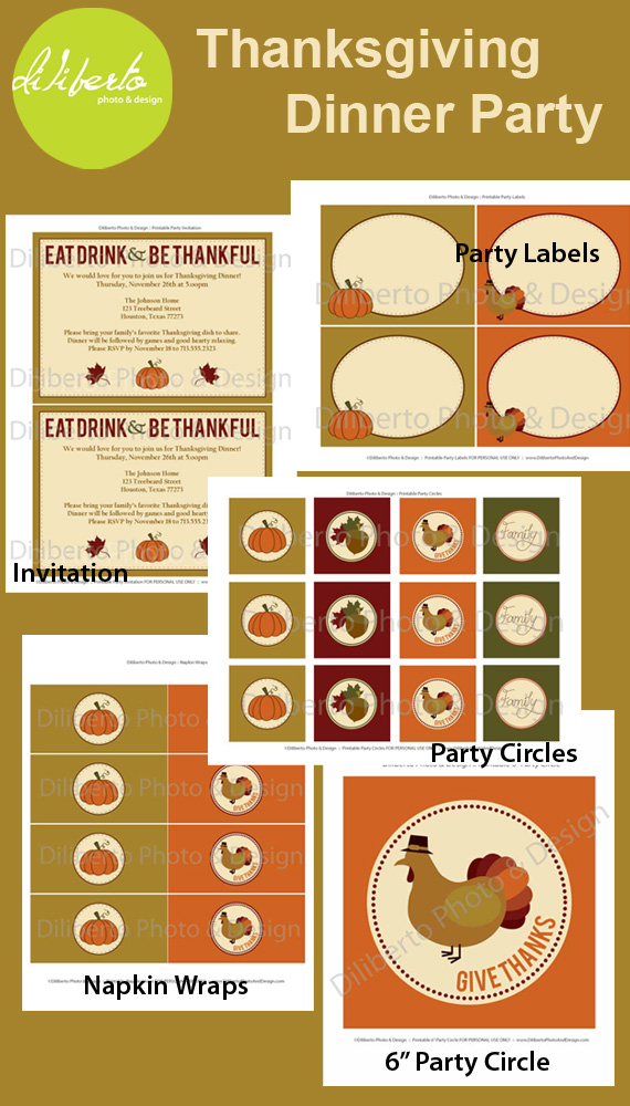 Thanksgiving Party Printables Decorations