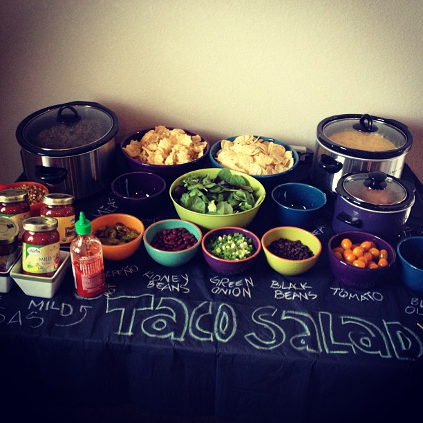 taco salad bar - monster baby shower